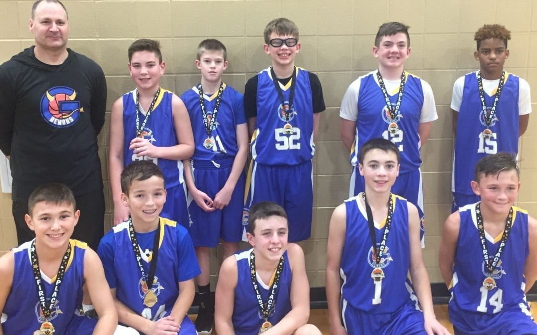 7th Grade Blue Champions in Play Hard Hoops Holiday Hoopfest